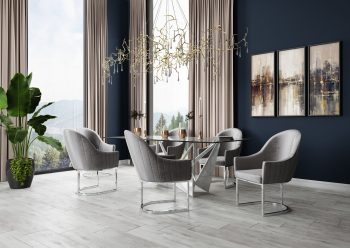 Dark grey dining chair and dining table