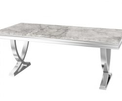 grey marble dining table with polished still rounded legs