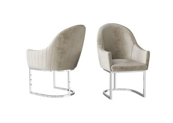 mink dining chair with stainless steel frame