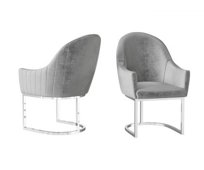 silver grey dining chair with stainless steel frame