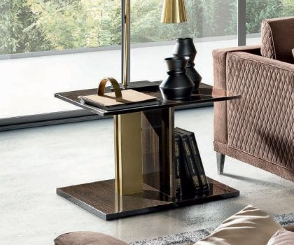 Walnut and Gold Volare Lamp Table by Camel Group