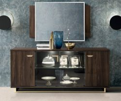 camel group volare walnut sideboard with mirror