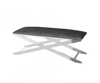 black fabric seating bench with silver frame