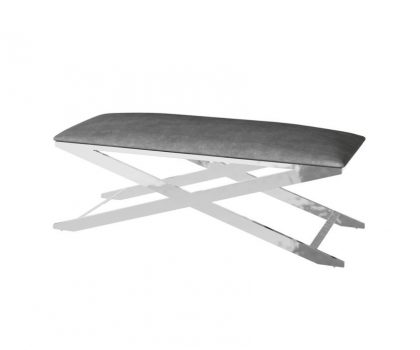 grey fabric seating bench with silver frame