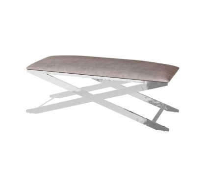 mink coloured fabric seating bench with silver frame