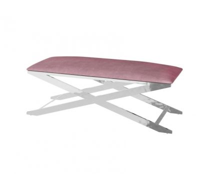 pink fabric seating bench with silver frame