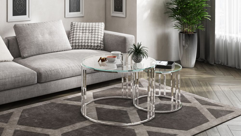round glass set of two coffee tables