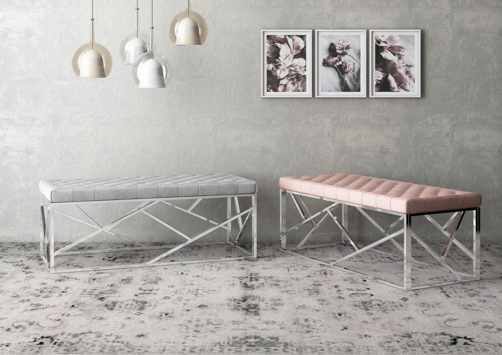 grey fabric bench with metal frame and pink fabric bench with metal frame