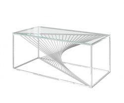 Clear glass coffee table with unique stainless steel warped frame