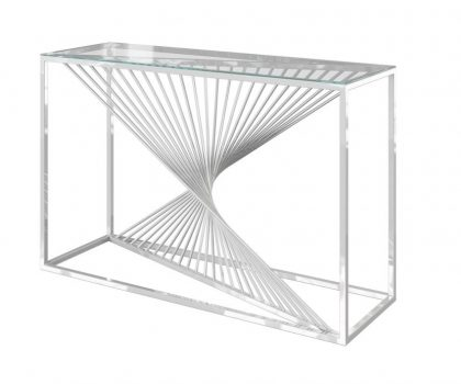 Clear glass console table with unique stainless steel warped frame