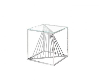 Clear glass lamp table with unique stainless steel warped frame