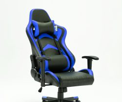 black and blue leather recliner gaming chair