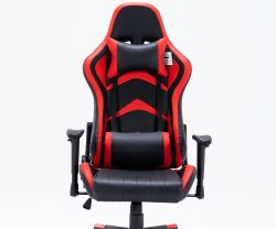 black and red leather recliner gaming chair