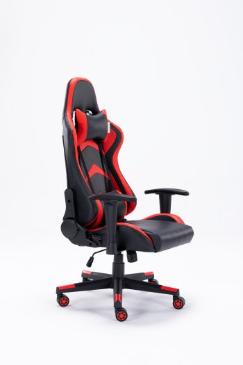 black and red leather recliner office chair