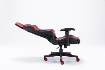 fully reclining red and black leather gaming chair