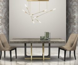 stone international harry dining table with glam travertine top