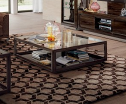 Camel group walnut and glasscoffee table