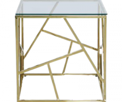 gold metal end table with abstract design